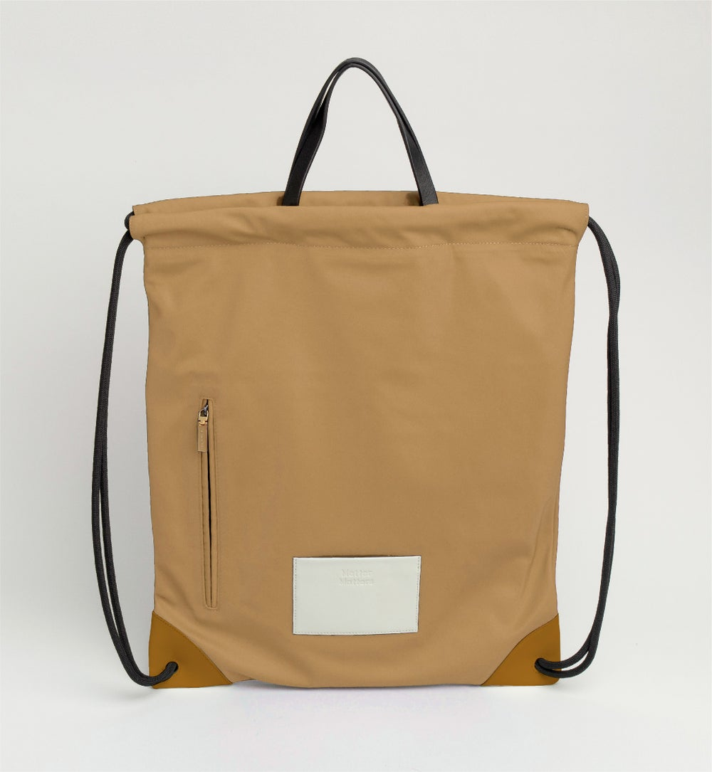 The square - Drawstrig Backpack • Tan