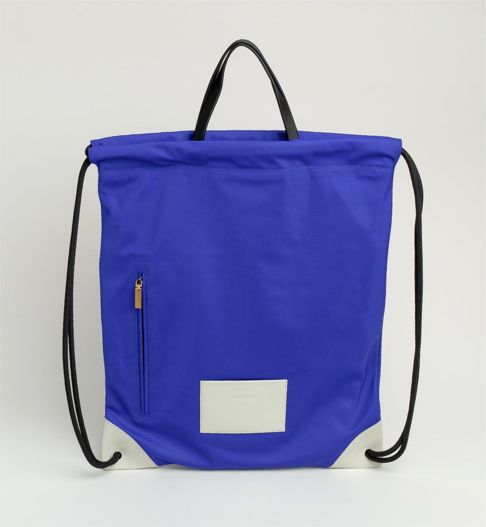 The square - Drawstrig Backpack • Blue