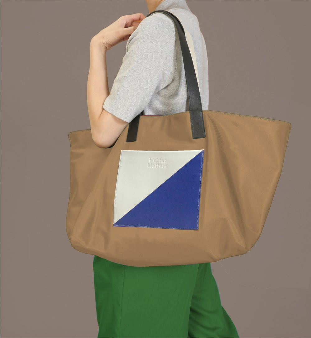 The square - Reversible tote bag • Tan + Blue