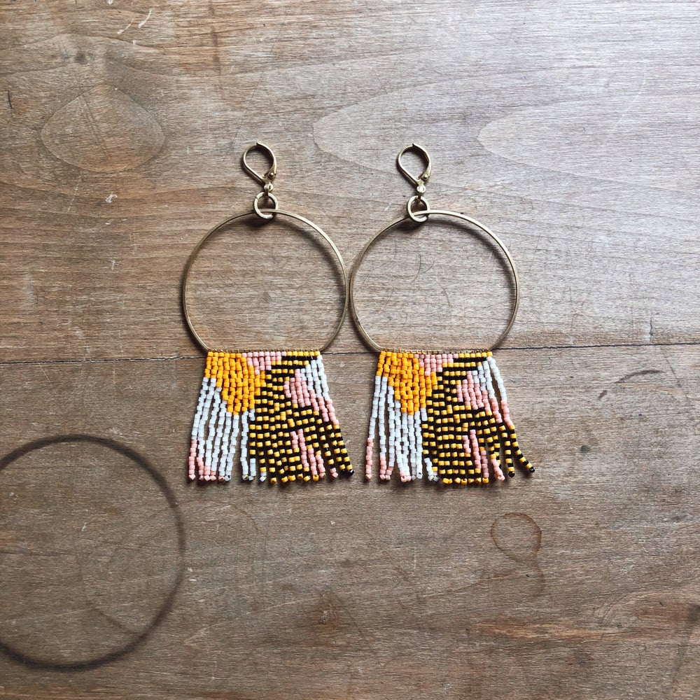 Image of TOUCH TONE - Neoteric Camo drop hoop fringe earrings