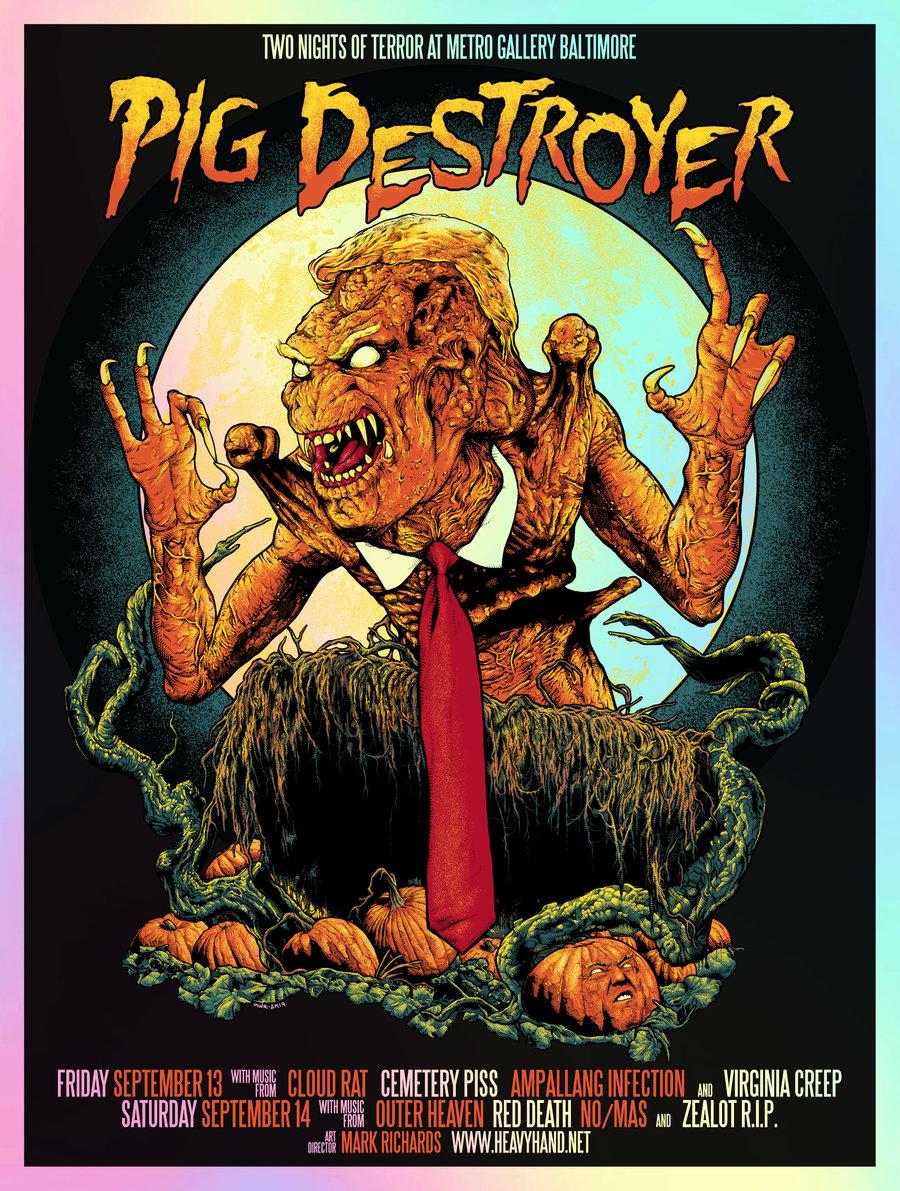 Image of Pig Destroyer Two Nights Of Terror Poster (Foil Variant)