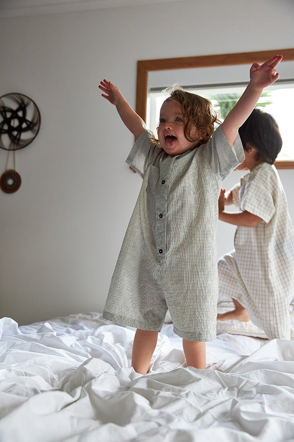 Image of General Sleep + The Library Romper, Small Check