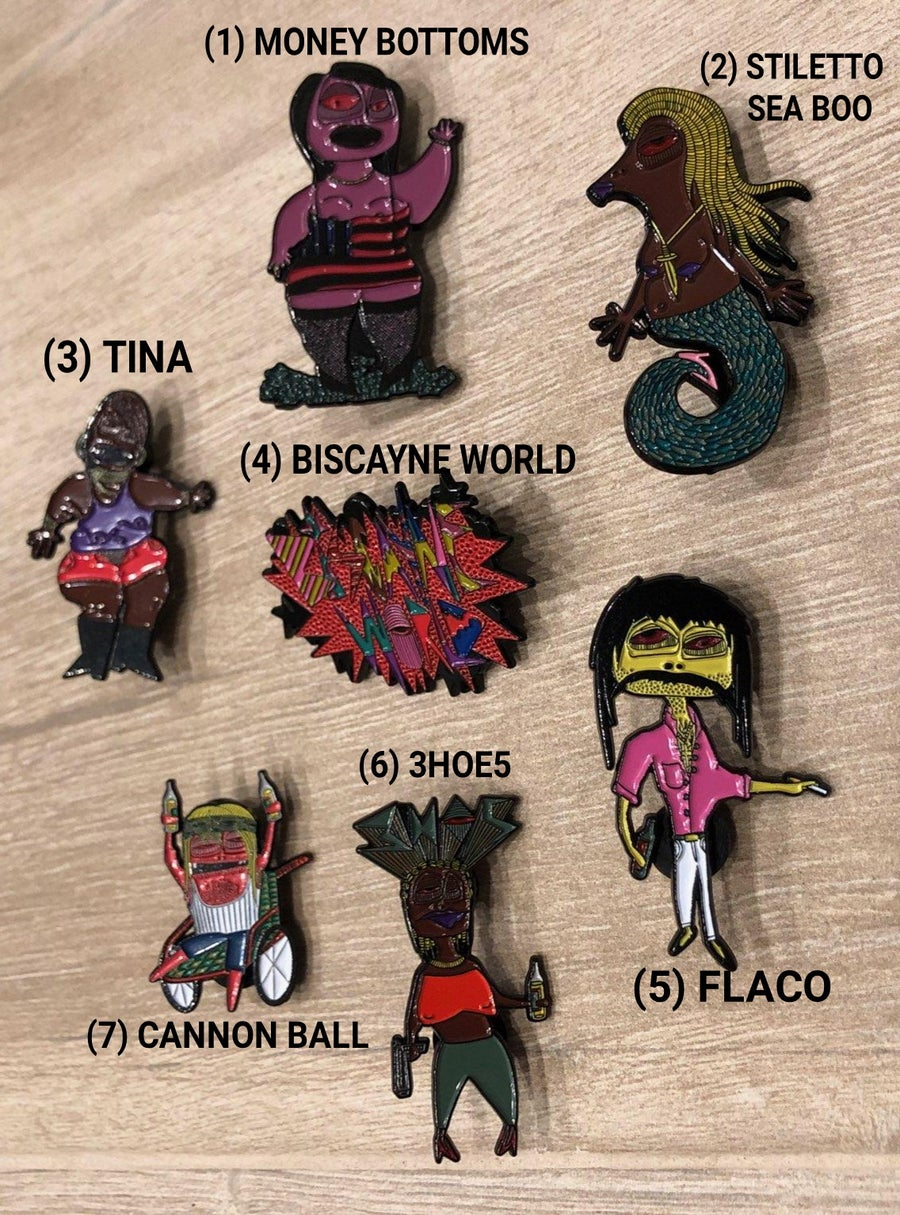 "Image of ""BISCAYNE WORLD"" - 2"" ENAMEL PINS"