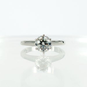 Image of Classic 18ct white gold solitaire diamond engagement ring. Pj5759