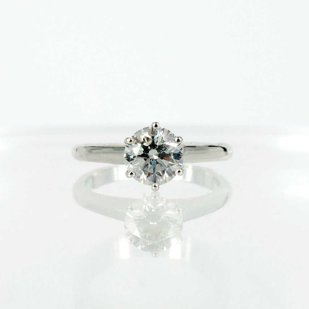 Image of Classic 18ct white gold solitaire diamond engagement ring