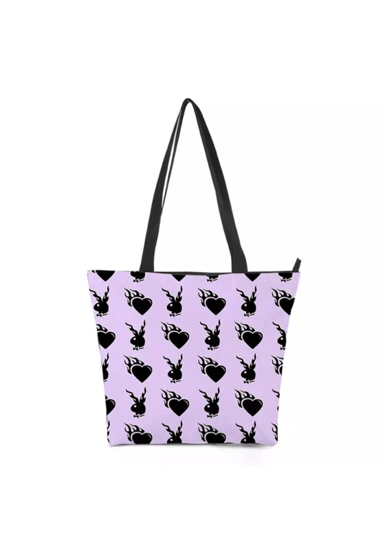Image of LILAC BUNNY HEART TOTE BAG