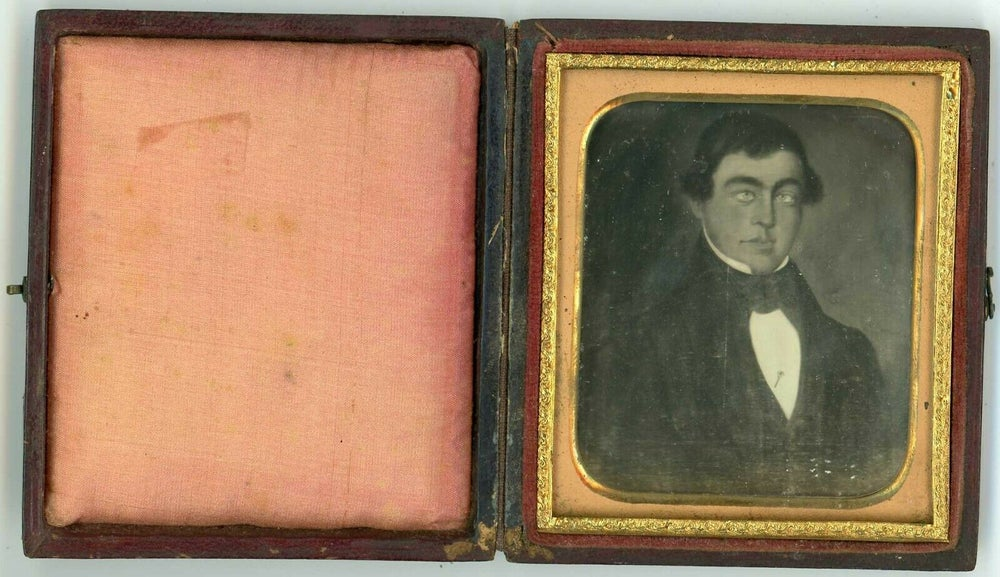 Image of Anonymous: daguerreotype of painting, man with strange eyes, ca. 1860