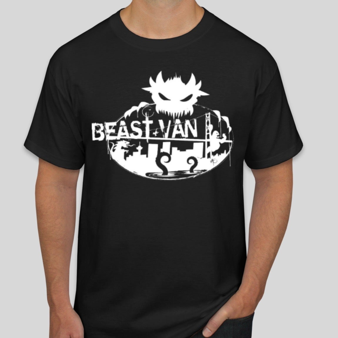 Image of BEAST VAN RECORDS THROWBACK GRAPHIC TEE (BLACK W/ WHITE PRINT)