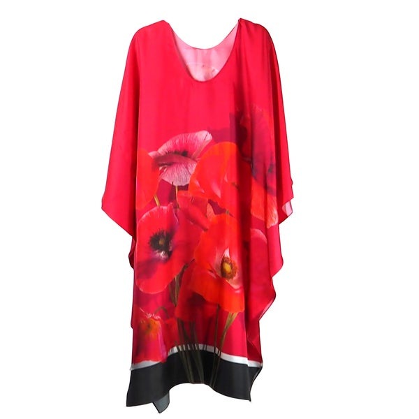 Image of Silk-Twill Red Poppies Kaftan