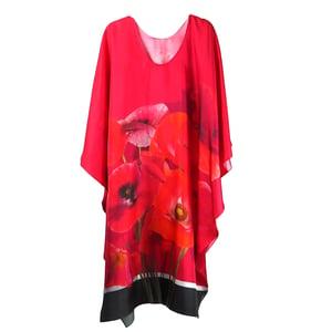 Image of Silk Twill Red Poppies Kaftan