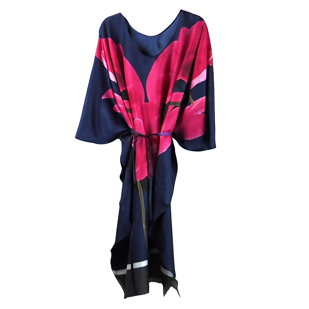 Image of Silk Twill Pink Orchids Kaftan