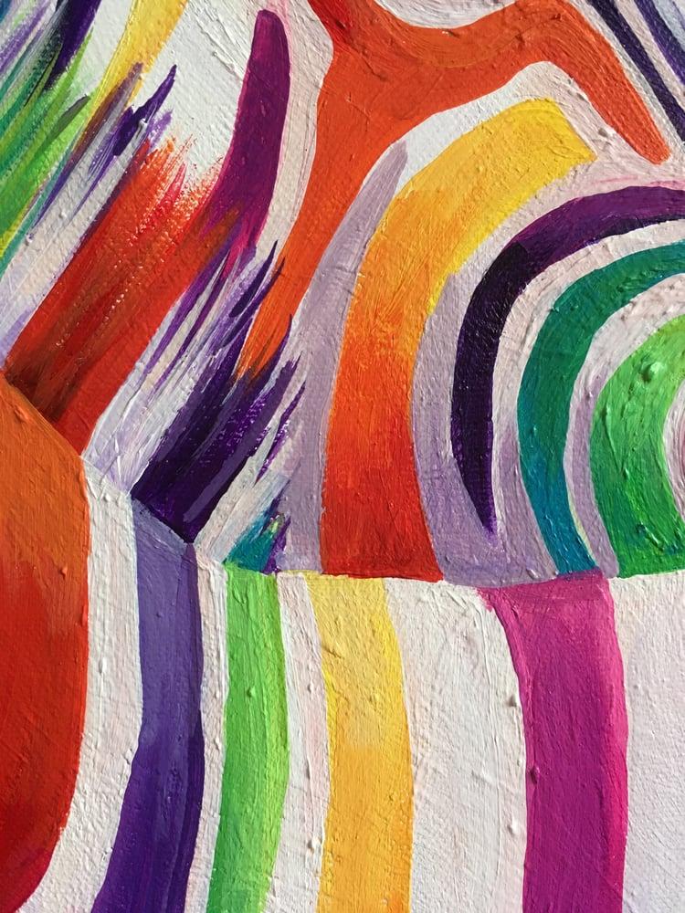 Image of Rainbow Zebra Hugs Print