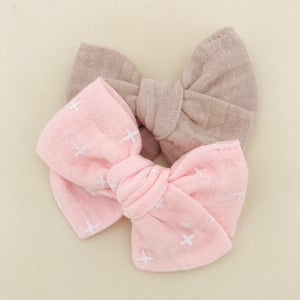 Image of Barrette & bloomer double gaze de coton rose & blanc