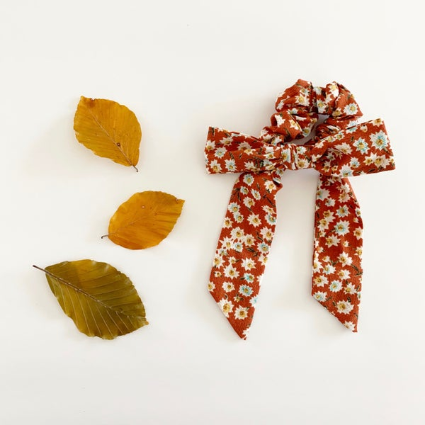 Image of Rust Floral Scrunchie Bow