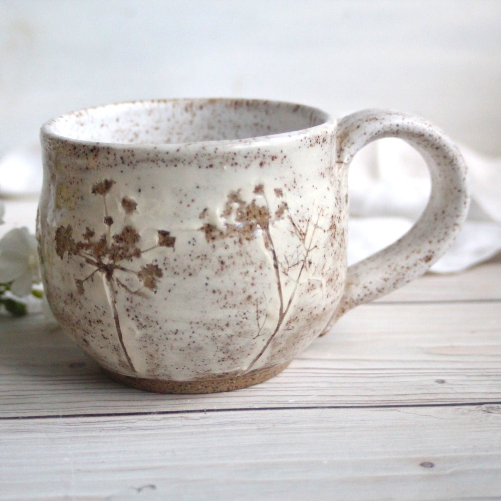 Image of Handmade Nature Mug with Dill Flowers Impression, Stoneware Pottery, Made in USA