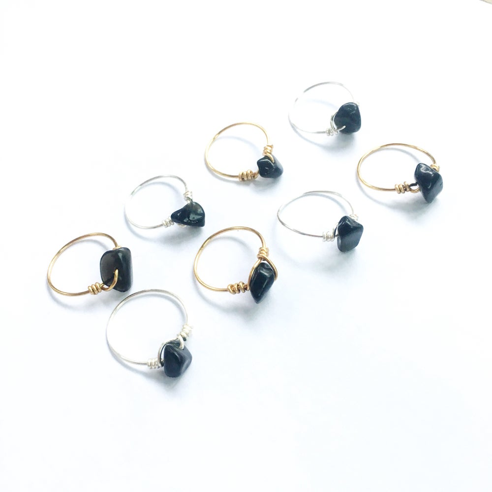 Image of Simple Obsidian Ring