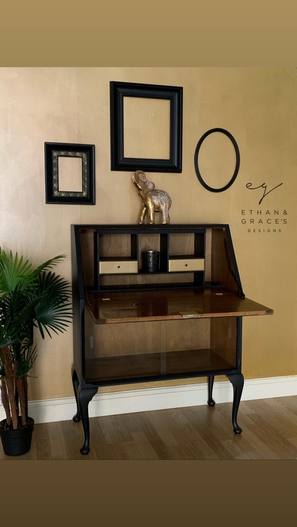 Image of Black wooden & gold bureau drinks cabinet