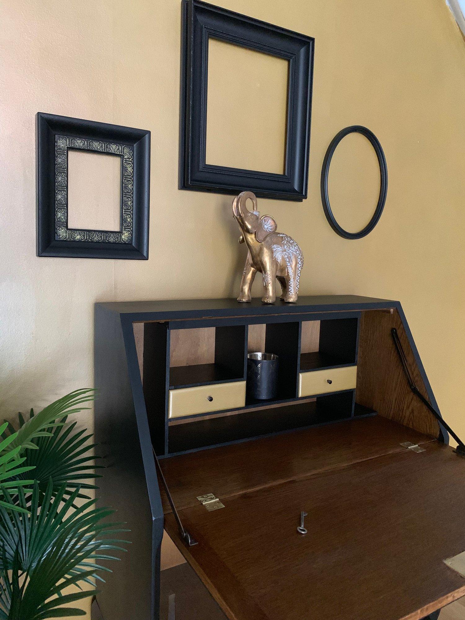 Image of Black wooden & gold bureau drinks cabinet