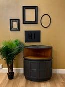 Image 1 of Dark grey & teak Nathan corner drinks cabinet