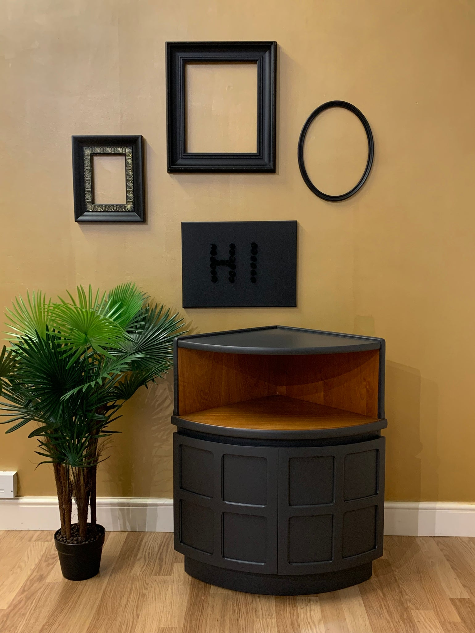 Image of Dark grey & teak Nathan corner drinks cabinet