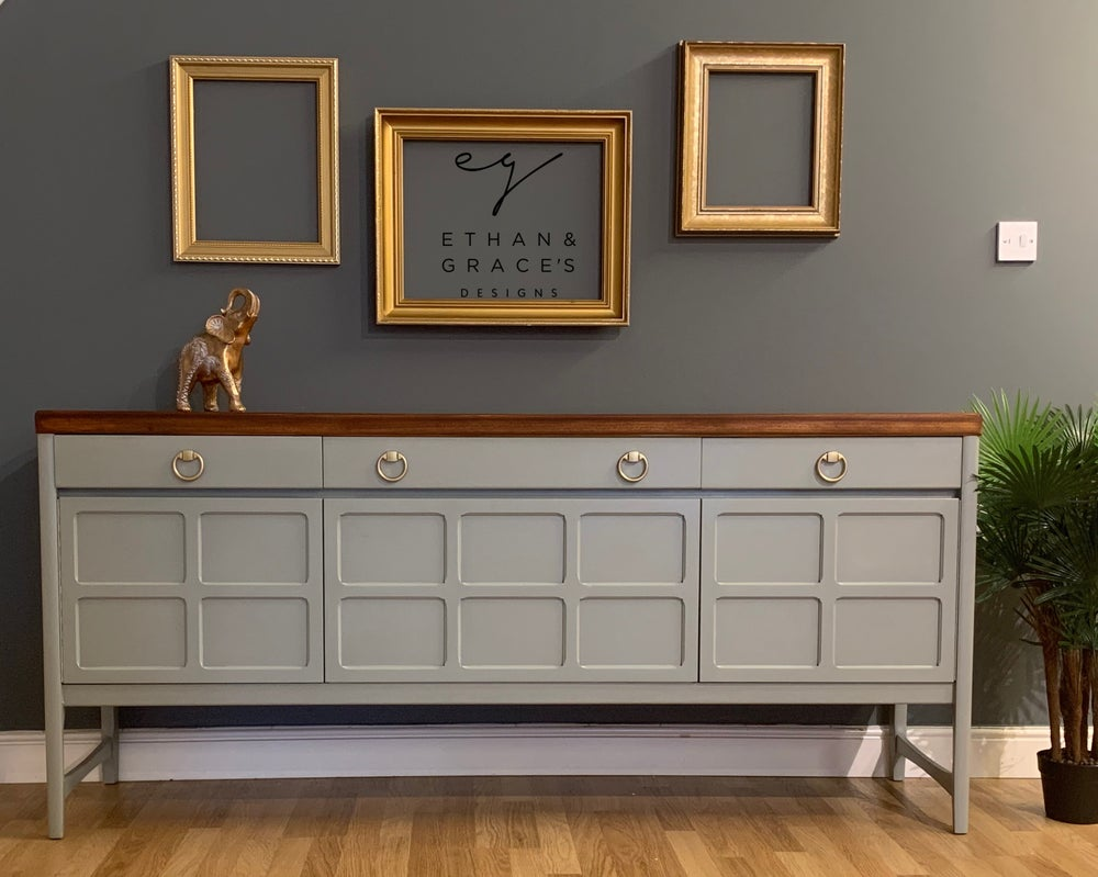 "Image of Farrow & balls ""Pigeon"" Nathan sideboard with naked top"
