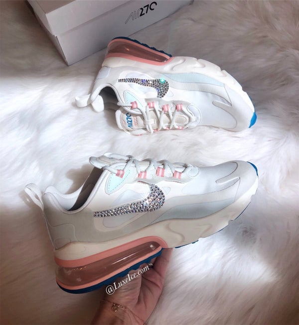 Image of Women's Nike air Max 270 React customized with Swarovski Crystals.