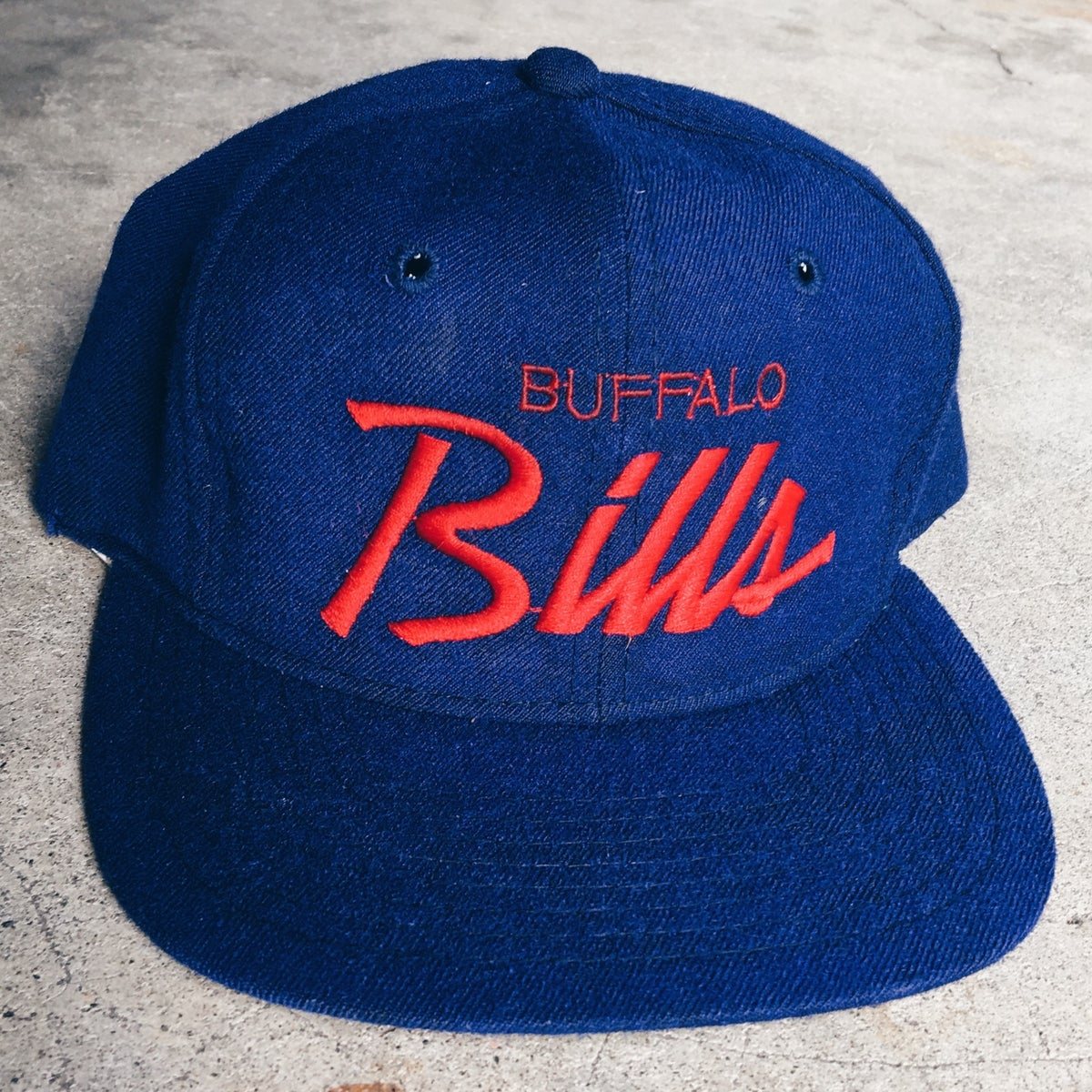 Image of Original 90's Sports Specialties Buffalo Bills Script Snapback Hat.