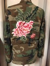 Camo jacket featuring custom stitched peony