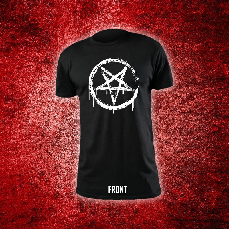Image of Alligator Blood Rock Devil Painted Pentagram T-Shirt