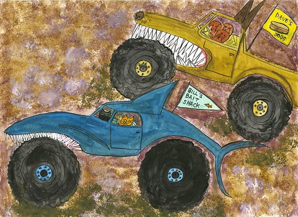 Image of Monster Truck Mash Up. Original painting.