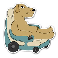 Wheelchair Dog sticker - Sick Animation Shop