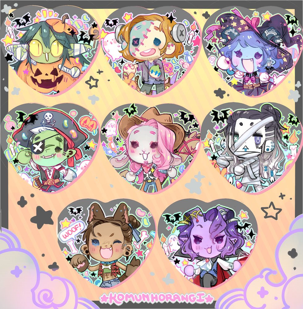 Image of CritRole Halloween Heart Buttons