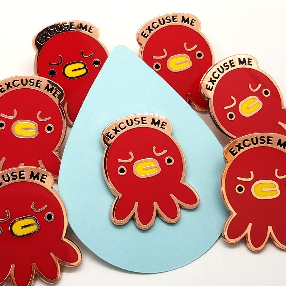 Image of Excuse Me Octopus Pin - SECONDS