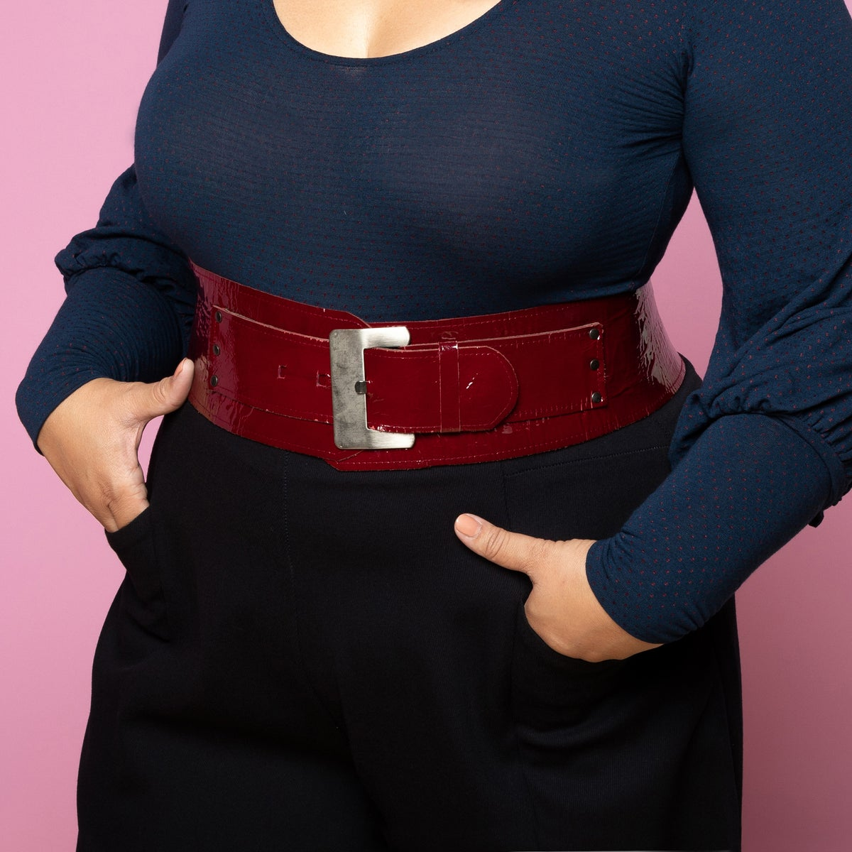Image of YES MZ: WIDE CURVED LEATHER BELT
