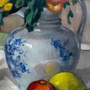 Image of 1957, French, Still Life Painting, 'Fruit and Flowers.'