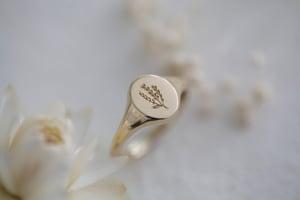 Image of Botanic lavender engraved signet ring