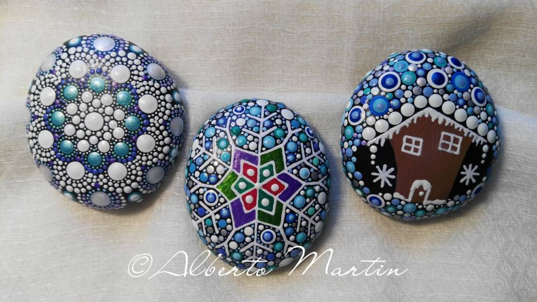 Image of Christmas dotart painted stones- Set of 3