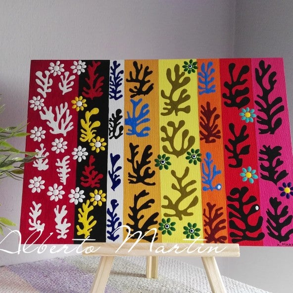 Image of Flowers and leaves- Matisse inpiration canvas.