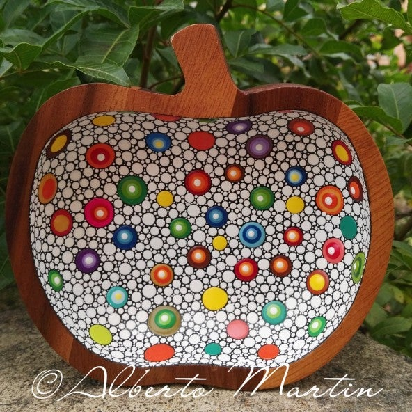 Image of Colorful dotted Acacia Medium wooden tray by Alberto Martín