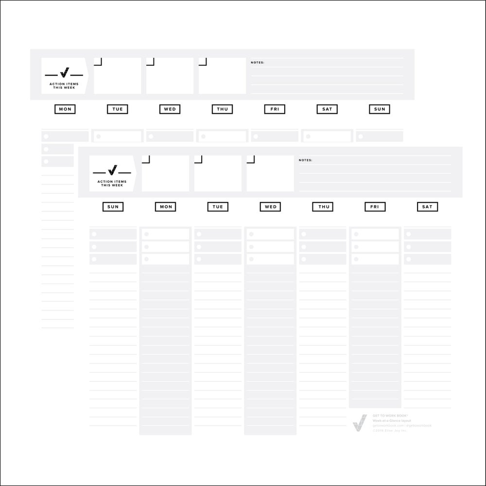 Image of PRINTABLE WEEK-AT-A-GLANCE layout