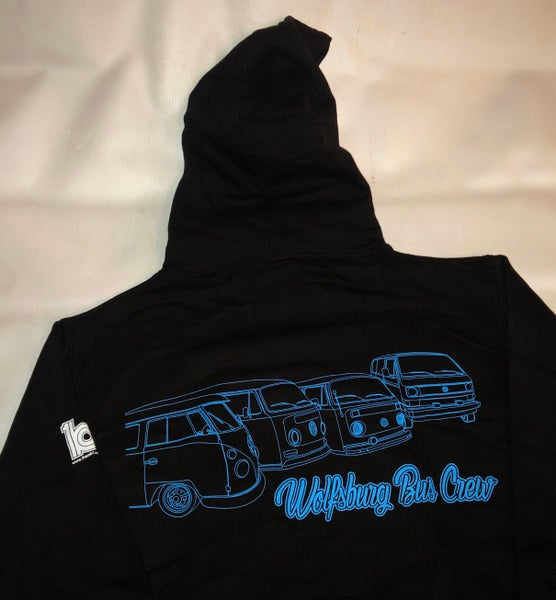 Image of  WBC Black Hoodie with Electric Blue Large Chest and Extra Large Shoulder Print