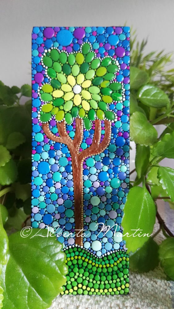 Image of Magnetic painted canvas dotart- Tree. Frigde Magnets by Alberto Martin