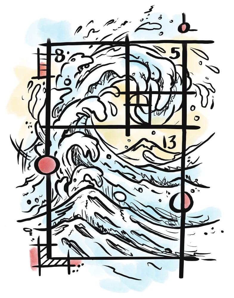 "Image of ""Great Fibonacci Wave"" Open Edition Fine Art Print by lin buckner"