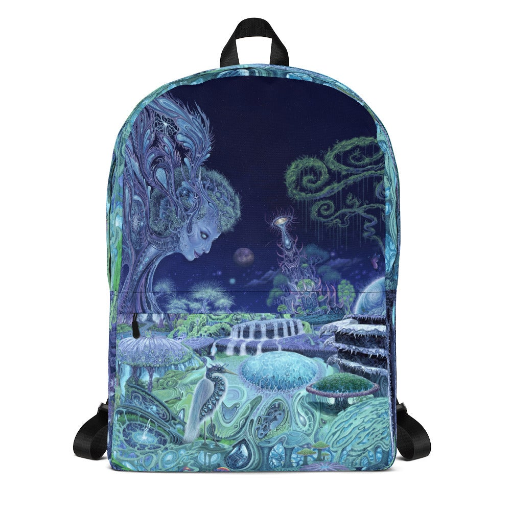 Image of The Emerald Queen all over print backpack by Mark Cooper