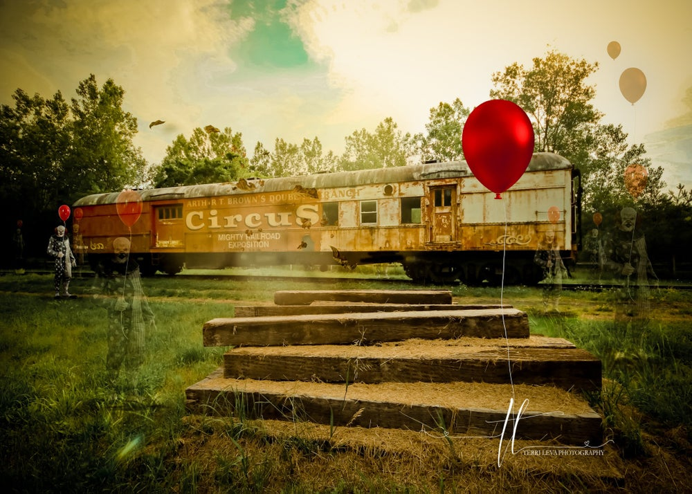 Image of Abandoned Circus Train Digital Backgrounds