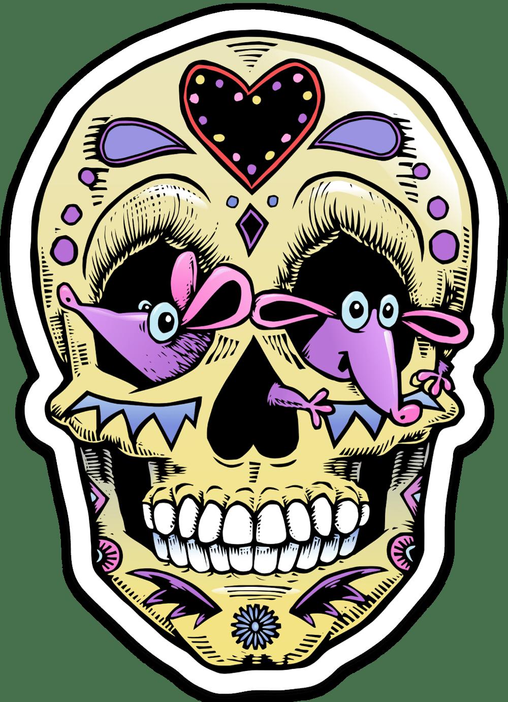 Mouse-eyed Sugar Skull Sticker