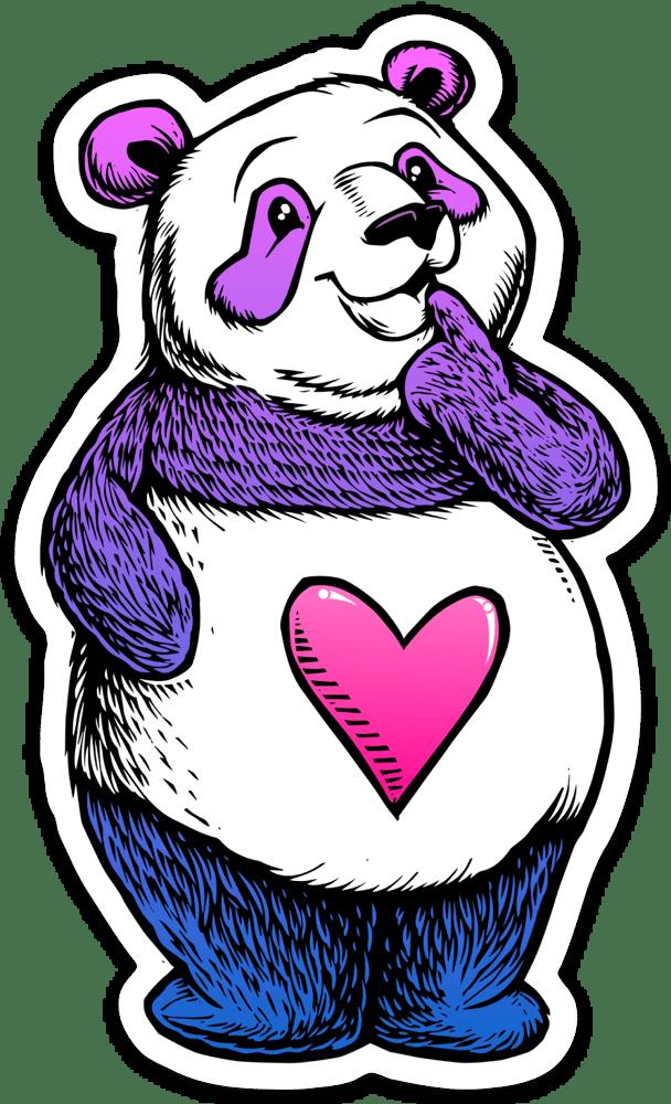 Image of Cute Thinking Panda Sticker