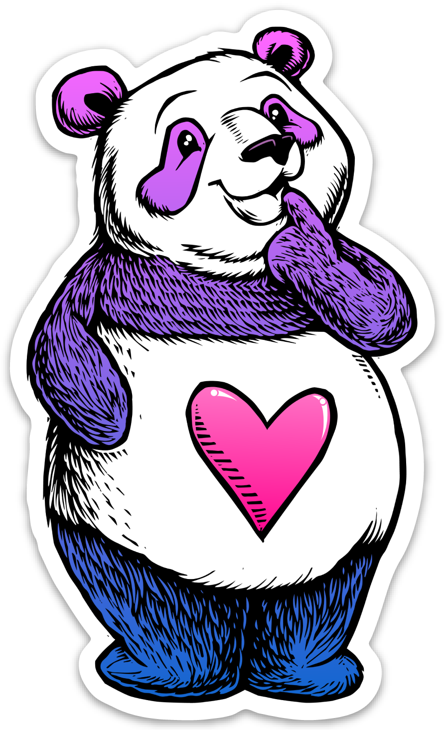 Cute Thinking Panda Sticker