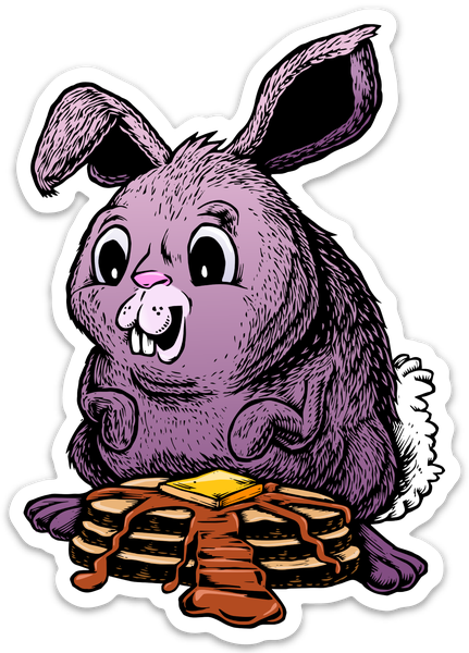 Image of Bunny eating Waffles Sticker