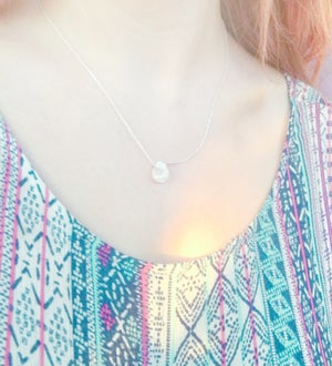 Image of Moonstone Raindrop Necklace - Sterling Silver